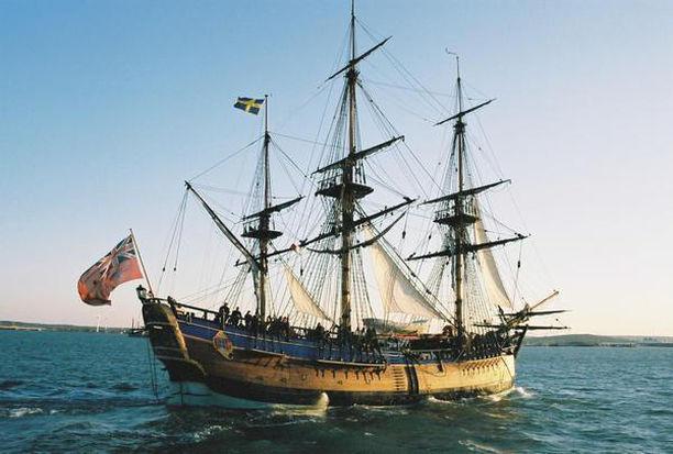 Le HMS Endeavour, trois-mâts carré britannique
